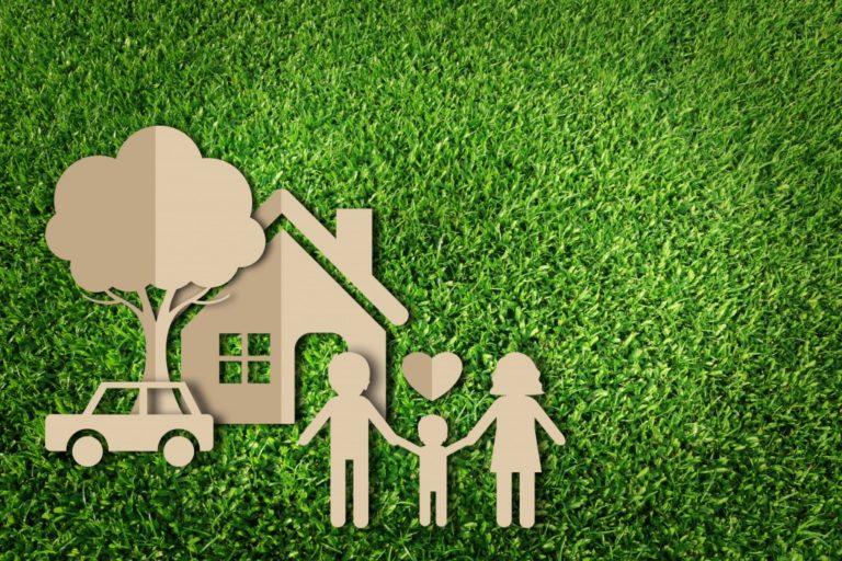 Cardboard family over grass