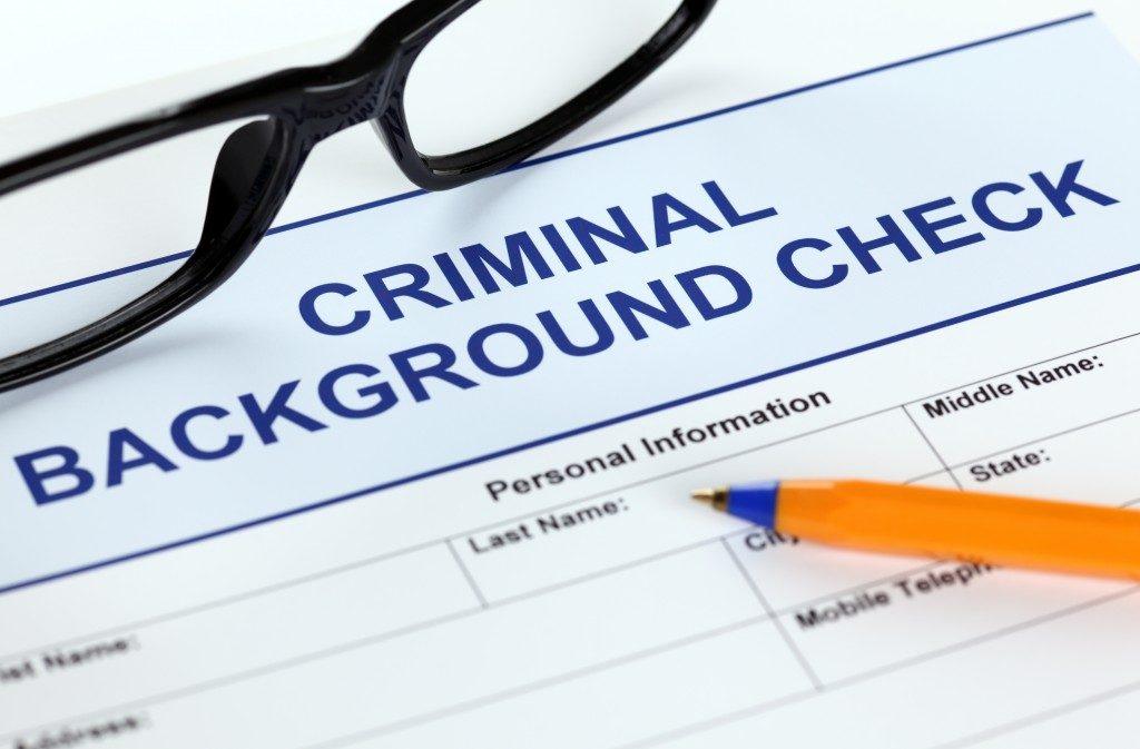 Criminal background check application form